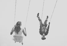 Engagement photo with couple on #swings. Engagement Shoot Inspiration: 15 Couple Poses You've Just Got To Try!