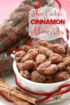 Slow Cooker Cinnamon Almonds: >Mix 1 cup sugar, 1 cup brown sugar, 3 tbsp cinnamon, 1/8 tsp salt >In another bowl, whisk 1 egg white & 2 tsp vanilla. Add 3 cups almonds, stir thoroughly >Spray slow cooker with cooking spray, turn on Low. Combine mixtures well >Cook for ~3-4 hrs, stirring every 20 min. In the last hour, add 1/8 cup water >Spread sticky almonds onto lined baking sheet to cool.