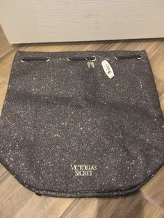 Victoria's Secret Glitter Sparkle Silver Drawstring Bag/Backpack Angel Wings NWT