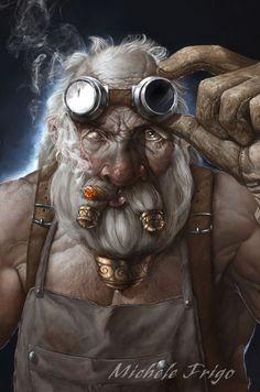 Dwarf, Zwerg, Warrior, Krieger, Larp, Mechaniker, Mechanic, Schmied, Blacksmith, Brille, Glasses, Cigar, Zigarre
