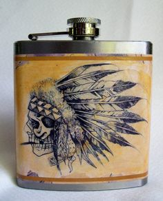 American Indian Flask    http://wanelo.com/p/2549804/american-indian-flask-feathers-and-bone