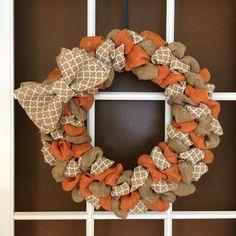 Fall Wreath- Burlap Wreath- Orange Wreath- Front Door Wreath- Everyday Wreath- Autumn Wreath- Harvest Wreath by InspiredDesignXoXo on Etsy https://www.etsy.com/listing/472300051/fall-wreath-burlap-wreath-orange-wreath