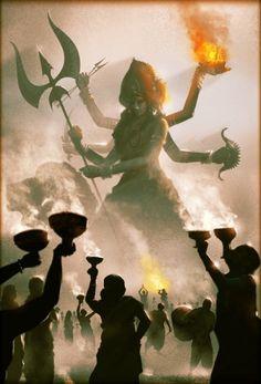 Navratri Puja will help you overcome all your negativities. Flourish with wealth on this Navratri by offering Homam to Lakshmi, Saraswathi & Durga. Indian Goddess Kali, Goddess Art, Durga Goddess, Shiva Art, Krishna Art, Hindu Art, Durga Painting, Lord Shiva Painting, Shiva Linga