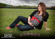 Maternity Photography | Red and Black | Baseball Theme |