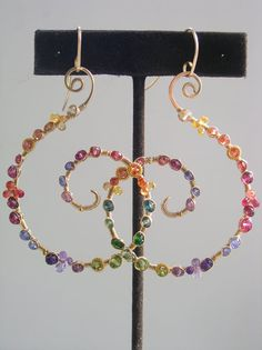 Gemstone Spiral Earrings Colorful Gold Filled by bellajewelsII