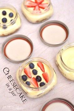 Patriotic cheesecakes in a jar. Perfect for taking on a picnic or sharing at a party. No need to cut and serve. And how fun is the fruit to tie in the color scheme? Mason Jar Meals, Meals In A Jar, Mason Jars, Cheesecake In A Jar, Cheesecake Recipes, Dessert Recipes, Blueberry Cheesecake, Just Desserts, Delicious Desserts