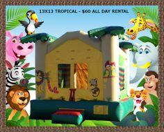 13x13 standard tropical theme bounce house rental.