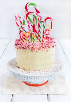 Candy Cane Peppermint and White Chocolate Swirl Cake @FoodBlogs
