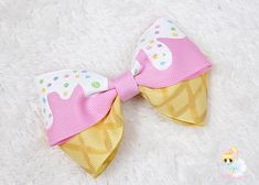 Ice Cream Party Hair Bow, Confetti Cake Smash Headband, Sprinkle Hair Bow for girls, Hand Painted Bow, Donut Birthday Girls Hair Clip Cream Hair Bows, Diy Hair Bows, Diy Bow, Toddler Hair Bows, Girl Toddler, Toddler Outfits, Girl Outfits, Diy Hair Accessories, Kawaii Accessories