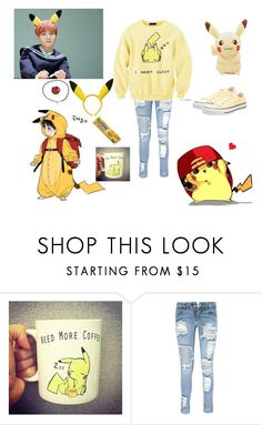 """Pikachu, Jungkook, and Yoongi"" by yoonmin2725 ❤ liked on Polyvore featuring Boohoo and Converse"