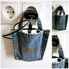 Handyladestation aus Jeanshosentasche / Mobile recharging station made from jeans pocket / Upcycling