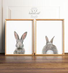 Bunny butt Rabbit print PRINTABLE art set por TheCrownPrints