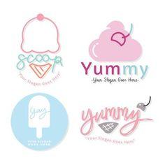 Ice Cream Logo, Ice Cream Brands, Ice Cream Theme, Cake Logo Design, Logo Desing, Ice Cream Shop Names, Dessert Logo, Cow Logo, Ice Cream Business