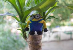 Needle felted miniature minion  Felted animal  by WooolyWool