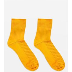Topshop Slinky Ribbed Ankle Socks (£3.50) ❤ liked on Polyvore featuring intimates, hosiery, socks, yellow socks, topshop socks, short socks, ankle socks and rayon socks