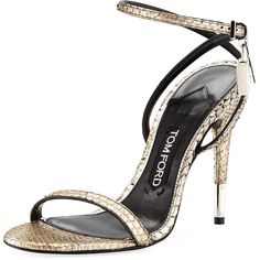 75970c28c39c5 Tom Ford Python Ankle-Lock 105mm Sandal ($1,690) ❤ liked on Polyvore  featuring shoes, sandals, grey, metallic sandals, metallic strappy sandals,  ...