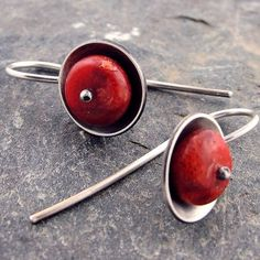 Cupped Coral Beaded Artisan Earrings in Sterling Silver