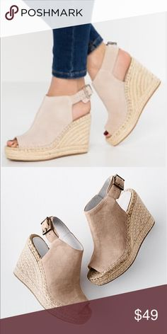 Kenneth Cole Olivia Suede Espadrille Wedge Platform Sandals Es4jh