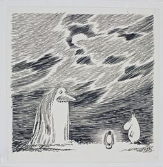"""The Groke (""""mörkö"""") and Moomin. Tove Jansson ( 1914 – was a… Moomin Books, Tove Jansson, Sketch Inspiration, Weird Creatures, Gravure, Graphic Illustration, Illustrations Posters, Painting & Drawing, Art Drawings"""