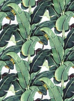 Used this and a picture from Martinique as inspiration for an original water color in palm leaf design. The original Martinique Banana Leaf wallpaper, which was created by decorator Don Loper in 1942 for the Beverly Hills Hotel. Palm Beach, Motif Tropical, Tropical Pattern, Flamingo Pattern, Tropical Leaves, Tropical Plants, Motifs Textiles, Flora Und Fauna, Beverly Hills Hotel