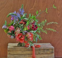 Lock Cottage Flowers, Surrey UK: spring bouquet with tulip, camassia, primula japonica, spiraea and hazel