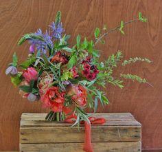 Lock Cottage Flowers, Surrey UK: spring bouquet with tulip, camassia, primula japonica, spiraea and hazel