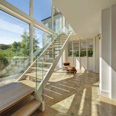 Kilternan - dermot bannon architects House Designs Ireland, Castle, Stairs, Farmhouse, Cottage, Flooring, Living Room, Architecture, Glass