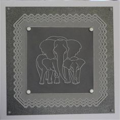 Elephant baby plate and grid border Groovi card created by Fi Scott