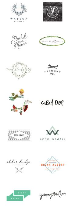 Love the floral ones. lauren ledbetter design & styling // branding // logos from 2013 Design Web, Gfx Design, Print Design, Design Logos, Branding And Packaging, Logo Branding, Wm Logo, Catalogue Design, Etiquette Vintage