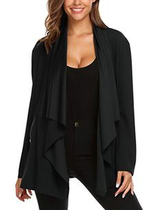 7ac6a9eba2 Women s Draped Open Front Zipper Pockets Cardigan Sweater Black M    Continue to the product at