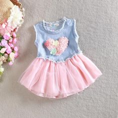 Girls Cute Denim Tutu Lace Dresses with Love Appliqued Princess Girls Stylish Patchwork Summer Sleeveless Casual Dress Online with $8.86/Piece on Smartmart's Store | DHgate.com