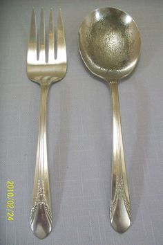 Silver Plate Serving Fork & Spoon Inheritance 1941 Wm Rogers #WmRogers