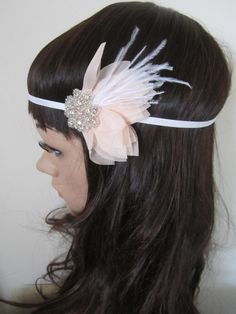 Blush pink 1920s feather flapper fascinator by PeacockandLotus, $35.00