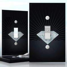 DIY Do It Yourself Home Decor - Easy to apply wall plate wraps | Shining on Black  Huge white diamond  wallplate skin sticker for 1 Gang Toggle LightSwitch | On SALE now only $3.95