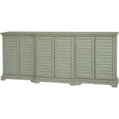 Featuring slatted doors and a weathered grey-green finish, this cottage-inspired sideboard is a lovely addition to your parlor or dining room.
