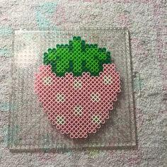 Strawberry coaster perler beads by caitlondiescrafts