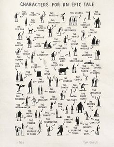 This makes me wish I taught creative writing.Fun creative writing- characters you need for an epic tale by tom gauld. students choose one, three, ten -- then write! Book Writing Tips, Writing Resources, Writing Help, Writing Skills, Writing Prompts, Short Story Writing, Writing Area, Essay Prompts, Editing Writing