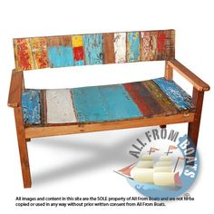 2 seater bench with arm, made from reclaimed boat timber. Nautical, recycled, reclaimed, boatwood, boat furniture.