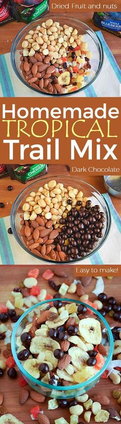 Homemade Tropical Trail Mix   by Life Tastes Good loaded with dried fruit, nuts, and dark chocolate is a better-for-you choice when you reach for a snack during the day.
