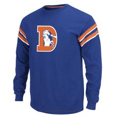 Denver Broncos Legacy End of Line II Long Sleeve Crew Shirt  https://allstarsportsfan.com/product/denver-broncos-legacy-end-of-line-ii-long-sleeve-crew-shirt/  Contrast neck tape, back yoke, sleeve piecing and decorative stitching for added aesthetic Ribbed trim and straight bottom hem for comfortable, relaxed fit 100% cotton jersey is machine washable