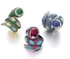 WENDY YUE ~ Serpent Rings with tsavorites, garnets, sapphires, rubies, tanzanite, opals, diamonds, and 18k white gold