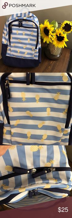 🍍NWT✨Pineapple blue & white striped backpack 🍍NWT✨Pineapple blue & white striped backpack Adorable yellow pineapple full size backpack new with tags! 3 pocket/storage areas. 1 Large main zipper area, 1 medium & 1 small in the front! Can store a lot! 🍍 Bags Backpacks