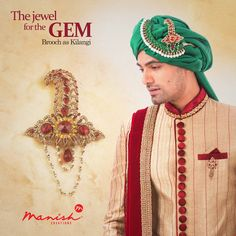 Not just the best in fabric, we bring fashion to you in forms of exquisite jewel pieces too. Use it as you want and shine on your special day.  #ManishCreations #Accessories #MensFashion #Ethnic #IndianWear #Traditional #Brooch #Kilangi