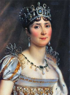 Joséphine de Beauharnais wife of Napoleon Bonaparte. Recently discovered that tiaras were quite popular in the Regency era, and Empress Josephine even wore this crown with her Regency gowns. Chateau De Malmaison, La Malmaison, Empress Josephine, Napoleon Josephine, Royal Crowns, Tiaras And Crowns, French Royalty, French History, Royal Jewelry