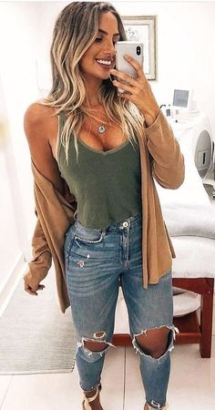 Gorgeous Summer Outfits To Wear Now - Fall/Winter Outfits - # Cute Fall Outfits, Spring Outfits, Trendy Outfits, Winter Outfits, Fashion Outfits, Womens Fashion, Casual Summer Outfits With Jeans, Blue Jean Outfits, Blue Jeans Outfit Summer