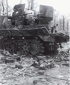 A destroyed Sdkfz. 7 with a dead crewman, after heavy fighting with the Soviet Army in Silesia, February 1945.