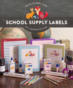 Personalized school supply labels | Lia Griffith