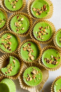 Matcha coconut almond butter cups filled with creamy oozy almond butter. With easy options for vegan, paleo, and refined-sugar-free. Healthier Desserts, Almond Butter, Matcha, Sugar Free, Paleo, Cups, Coconut, Vegan, Easy