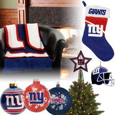 New York Giants Christmas Ornaments, Stocking, Tree Topper, Blanket