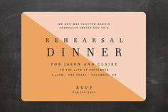Colorblocked Dinner Rehearsal Dinner Invitations